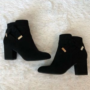 Report Black Ankle Bootie w/ gorgeous gold detail
